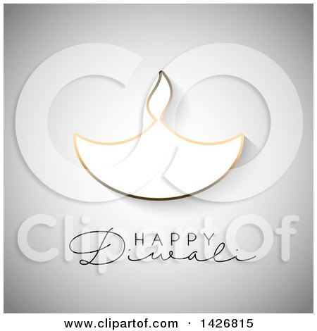 Clipart of Happy Diwali Text with a Gold Outlined Oil Lamp on Gray - Royalty Free Vector Illustration by KJ Pargeter