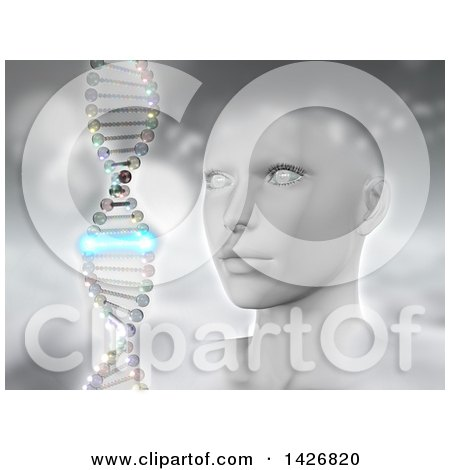Clipart of a 3d Female Human Head with a Dna Strand, One Piece Glowing Blue, over Gray - Royalty Free Illustration by KJ Pargeter