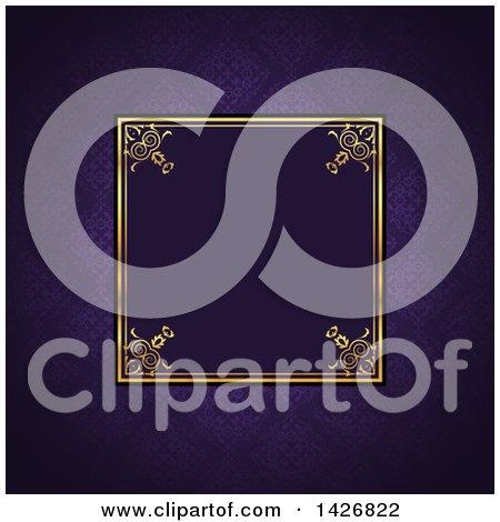 Clipart of a Vintage Ornate Golden Square Frame on Purple Damask - Royalty Free Vector Illustration by KJ Pargeter