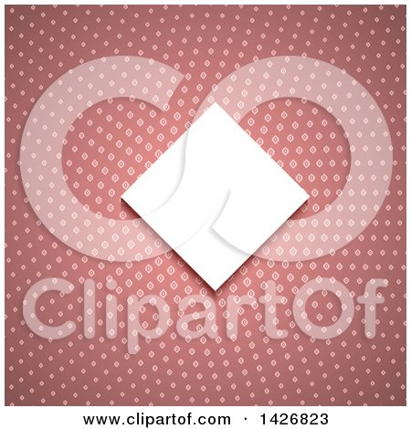 Clipart of a White Diamond Shaped Invitation Frame over a Pink Pattern - Royalty Free Vector Illustration by KJ Pargeter