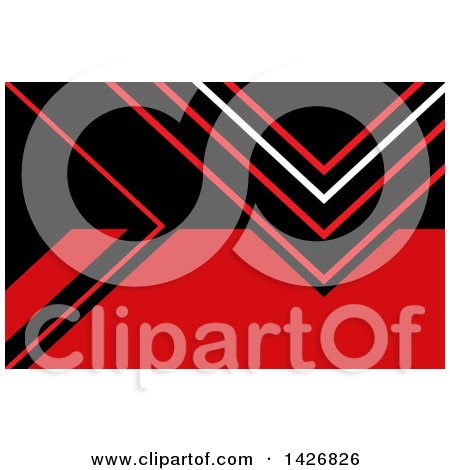 Clipart of a Red, Black and White Geometric Styled Wesite Background or Business Card Design - Royalty Free Vector Illustration by KJ Pargeter