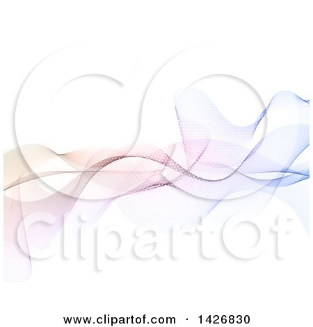 Clipart of a Background of Abstract Colorful Waves on White - Royalty Free Vector Illustration by KJ Pargeter
