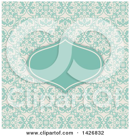 Clipart of a Retro Turquoise Frame Invitation on a Floral Pattern - Royalty Free Vector Illustration by KJ Pargeter