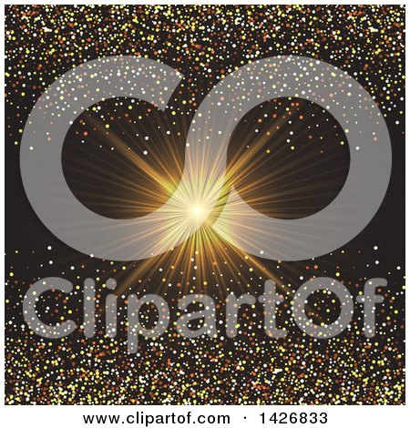 Clipart of a Golden Ray Burst with Confetti Glitter on Black - Royalty Free Vector Illustration by KJ Pargeter