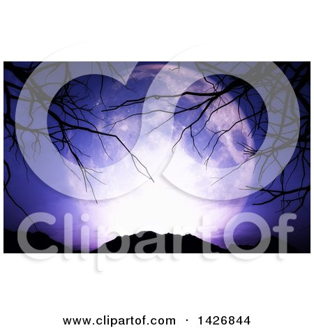 Clipart of a 3d Full Moon over Mountains, with Silhouetted Bare Tree Branches - Royalty Free Illustration by KJ Pargeter