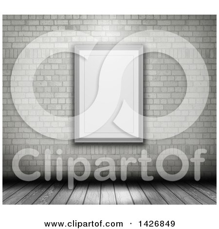 Clipart of a 3d Blank Picture Frame on a White Brick Wall over Wooden Flooring - Royalty Free Illustration by KJ Pargeter