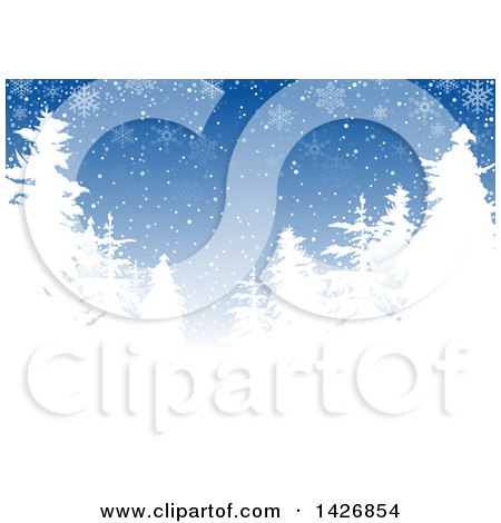 Clipart of a Blue Winter Background with White Silhouetted Evergreen Trees and Snowflakes - Royalty Free Vector Illustration by dero