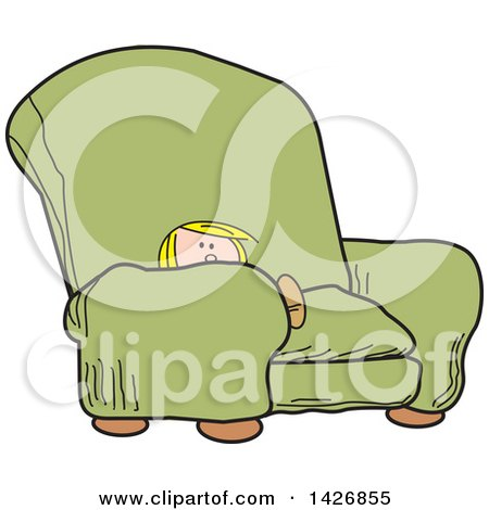 Clipart of a Cartoon Little Blond Caucasian Boy Sitting in a Big Green Arm Chair - Royalty Free Vector Illustration by Johnny Sajem