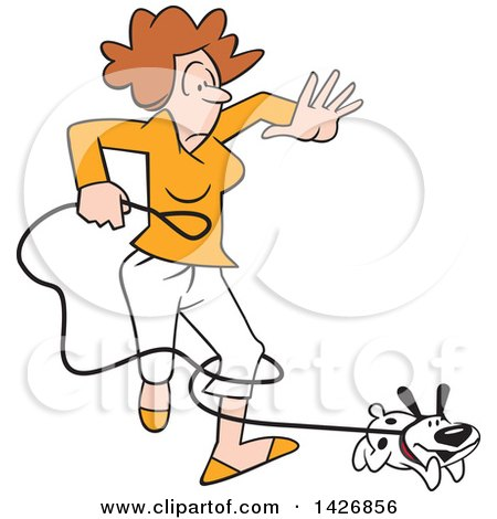 Clipart of a Cartoon Happy Puppy Dog Running and Tangling a Caucasian Woman in a Leash - Royalty Free Vector Illustration by Johnny Sajem