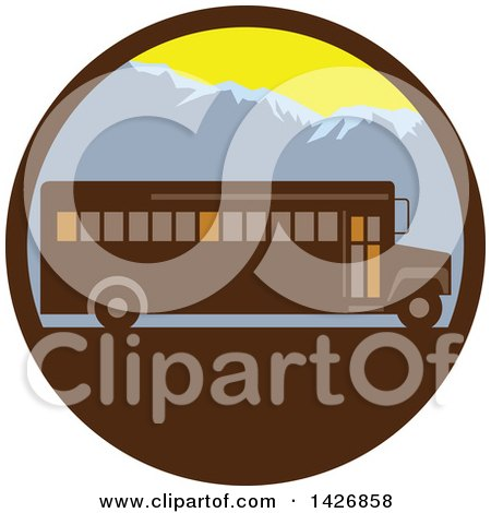 Clipart of a Retro School Bus Against Mountains in a Circle - Royalty Free Vector Illustration by patrimonio
