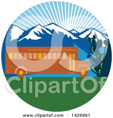 Clipart of a Retro Yellow School Bus with Cactus and Mountains Against a Sunny Sky Inside a Circle - Royalty Free Vector Illustration by patrimonio