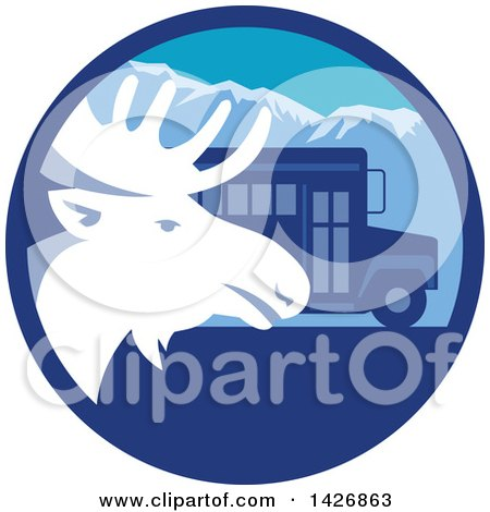 Clipart of a Retro Moose Head and a School Bus in a Blue Mountain Circle - Royalty Free Vector Illustration by patrimonio