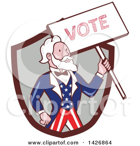 Clipart of a Retro Cartoon Uncle Sam Holding up a Vote Sign, Emerging from a Brown and Gray Shield - Royalty Free Vector Illustration by patrimonio