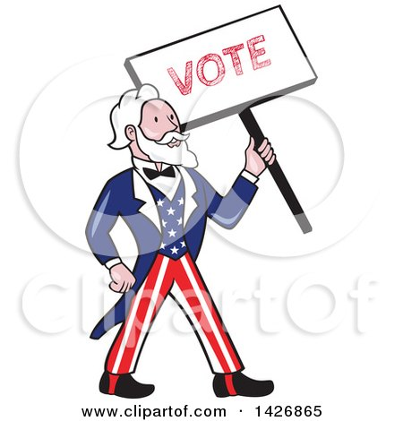Clipart of a Retro Cartoon Uncle Sam Holding up a Vote Sign - Royalty Free Vector Illustration by patrimonio