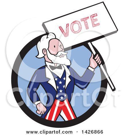 Clipart of a Retro Cartoon Uncle Sam Holding up a Vote Sign, Emerging from a Black and Blue Circle - Royalty Free Vector Illustration by patrimonio
