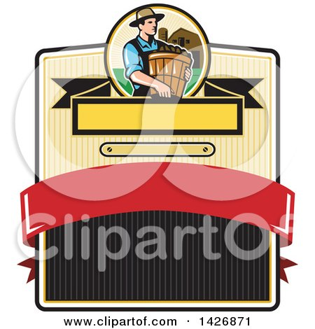 Clipart of a Retro Male Organic Farmer Carrying a Bushel of Harvest Produce, in a Circle Against a Barn and Silo over a Badge - Royalty Free Vector Illustration by patrimonio