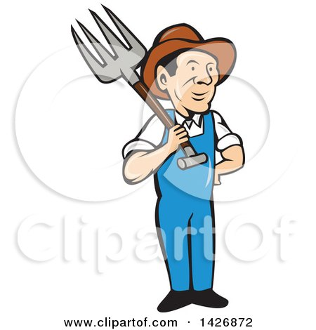 Clipart of a Retro Cartoon Male Farmer or Worker Holding a Pitchfork over His Shoulder - Royalty Free Vector Illustration by patrimonio