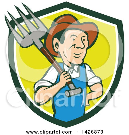 Clipart of a Retro Cartoon Male Farmer or Worker Holding a Pitchfork over His Shoulder, Emerging from a Green, White and Yellow Shield - Royalty Free Vector Illustration by patrimonio