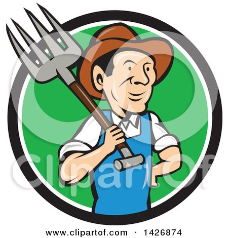 Clipart of a Retro Cartoon Male Farmer or Worker Holding a Pitchfork over His Shoulder, Emerging from a Black White and Green Circle - Royalty Free Vector Illustration by patrimonio
