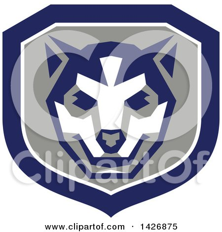 Clipart of a Retro Wolf Cub Head in a Gray White and Blue Shield - Royalty Free Vector Illustration by patrimonio