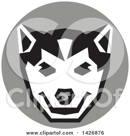 Clipart of a Retro Wolf Cub Head in a Gray Circle - Royalty Free Vector Illustration by patrimonio