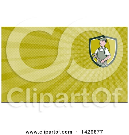 Clipart of a Retro Cartoon White Male Plumber or Handy Man Holding a Monkey Wrench and Green Rays Background or Business Card Design - Royalty Free Illustration by patrimonio