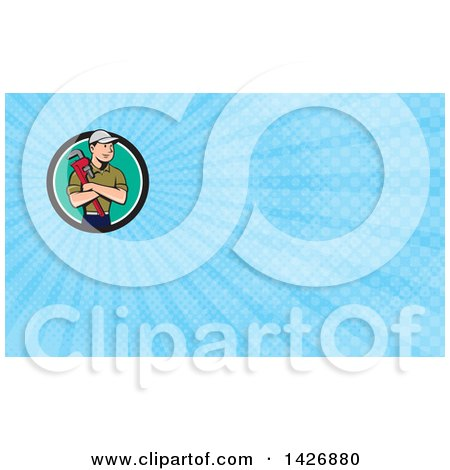Clipart of a Retro Cartoon White Male Plumber or Handy Man Holding a Monkey Wrench in Folded Arms and Blue Rays Background or Business Card Design - Royalty Free Illustration by patrimonio