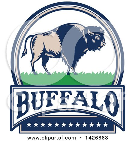 Clipart of a Retro Woodcut American Buffalo Bison on Grass in an Oval with Text and Stars - Royalty Free Vector Illustration by patrimonio