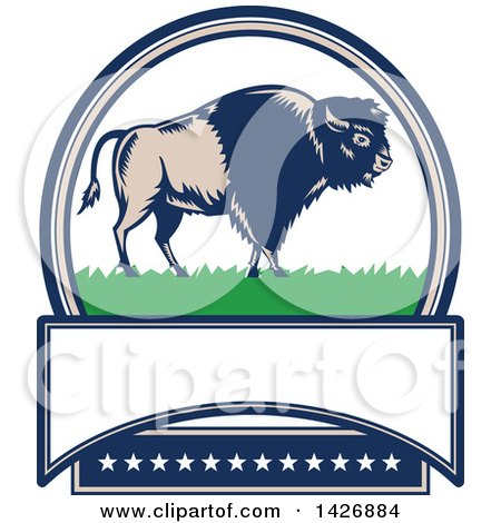 Clipart of a Retro Woodcut American Buffalo Bison on Grass in an Oval with Text Space and Stars - Royalty Free Vector Illustration by patrimonio