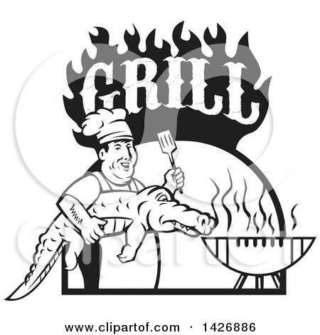 Clipart of a Retro Black and White Male Chef Carrying and Alligator to a Football Shaped Bbq Under Grill Text Flames - Royalty Free Vector Illustration by patrimonio