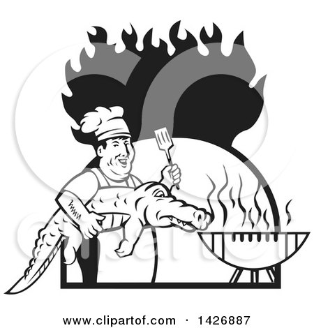 Clipart of a Retro Black and White Male Chef Carrying and Alligator to a Football Shaped Bbq Grill Under Flames - Royalty Free Vector Illustration by patrimonio