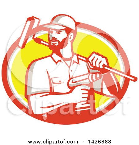 Retro Handyman Holding a Paint Roller over His Shoulder and a Cordless Drill in Hand, Emerging from an Orange Gray White and Yellow Oval Posters, Art Prints