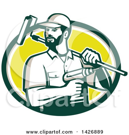 Retro Handyman Holding a Paint Roller over His Shoulder and a Cordless Drill in Hand, Emerging from a Green Taupe White and Yellow Oval Posters, Art Prints