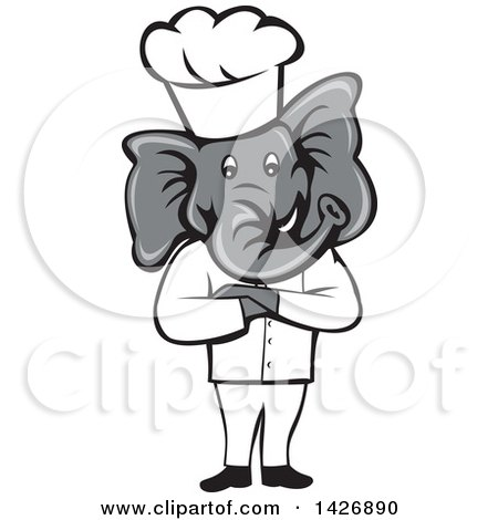 Clipart of a Cartoon Elephant Chef Man Standing with Folded Arms - Royalty Free Vector Illustration by patrimonio