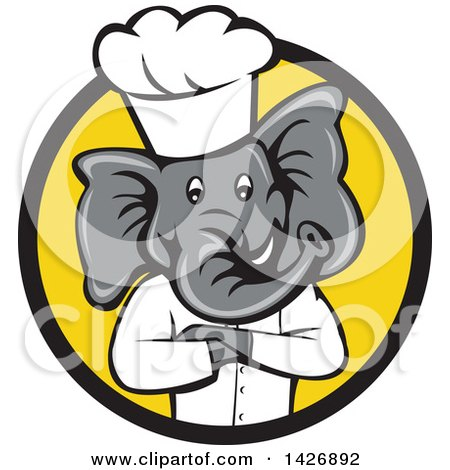 Clipart of a Cartoon Elephant Chef Man with Folded Arms in a Black and Yellow Circle - Royalty Free Vector Illustration by patrimonio