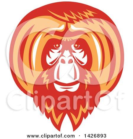 Retro White, Red and Orange Orangutan Monkey Face Posters, Art Prints