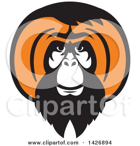 Clipart of a Retro Black and Orange Orangutan Monkey Face - Royalty Free Vector Illustration by patrimonio