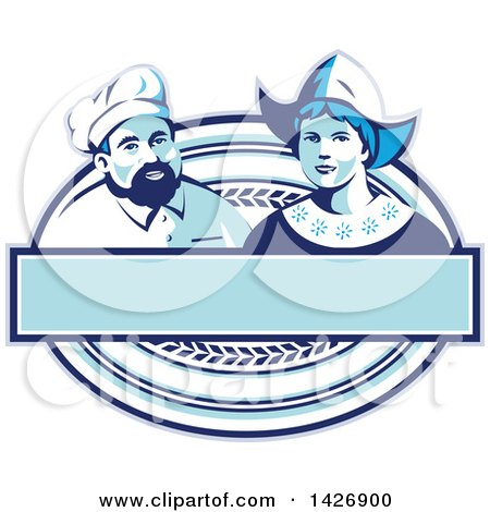 Clipart of a Retro Male Baker and Dutch Lady in a Blue and White Oval with a Blank Banner - Royalty Free Vector Illustration by patrimonio