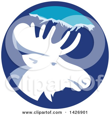 Clipart of a Retro Moose Head in a Blue Mountain Circle - Royalty Free Vector Illustration by patrimonio