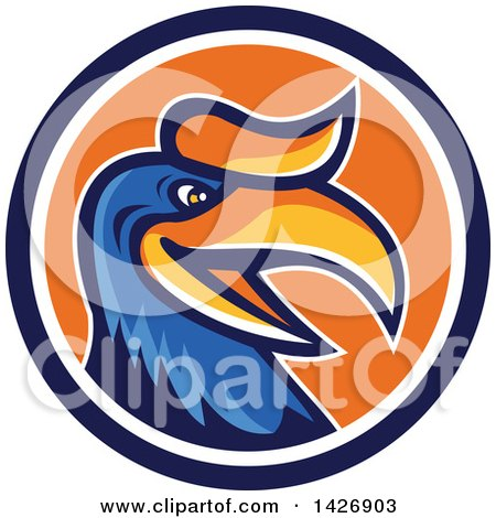 Clipart of a Retro Cartoon Hornbill or Bucerotidae Bird Mascot in a Blue White and Orange Circle - Royalty Free Vector Illustration by patrimonio