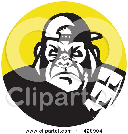 Clipart of a Retro Black and White Tough Gorilla Wearing a Baseball Cap in a Yellow Circle - Royalty Free Vector Illustration by patrimonio