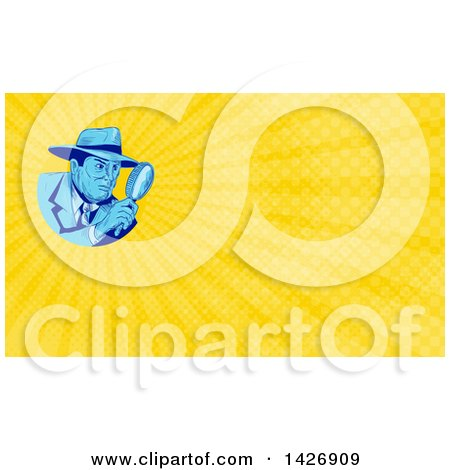 Clipart of a Sketched Male Detective Looking Through a Magnifying Glass and Yellow Rays Background or Business Card Design - Royalty Free Illustration by patrimonio