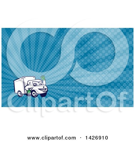 Clipart of a Cartoon Happy Delivery Van Mascot Waving and Blue Rays Background or Business Card Design - Royalty Free Illustration by patrimonio