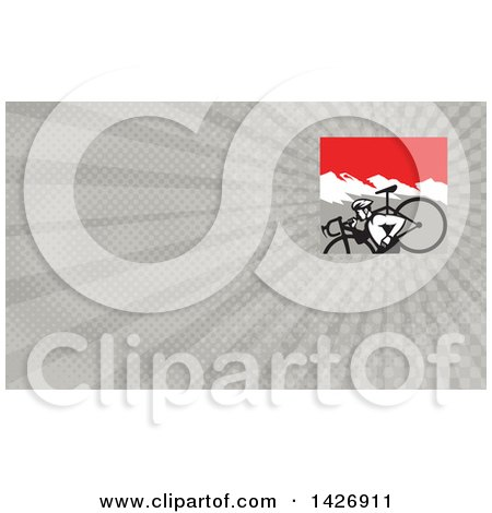 Clipart of a Retro Male Cyclocross Athlete Running and Carrying Bicycle on His Shoulders in the Mountains and Gray Rays Background or Business Card Design - Royalty Free Illustration by patrimonio