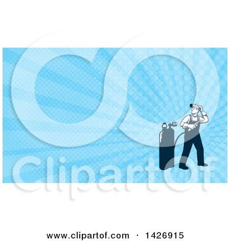 Clipart of a Retro Full Length Male Welder Looking Back over His Shoulder and Blue Rays Background or Business Card Design - Royalty Free Illustration by patrimonio