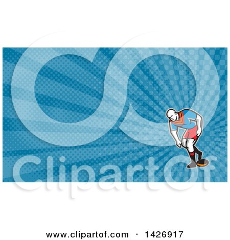Clipart of a Retro Male Rugby Player and Blue Rays Background or Business Card Design - Royalty Free Illustration by patrimonio