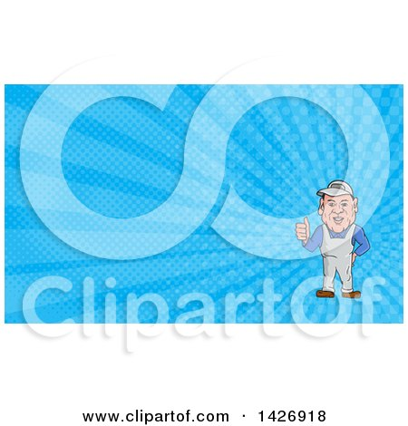 Cartoon Male Oven Cleaner Technician in Overalls, Giving a Thumb up and Blue Rays Background or Business Card Design Posters, Art Prints