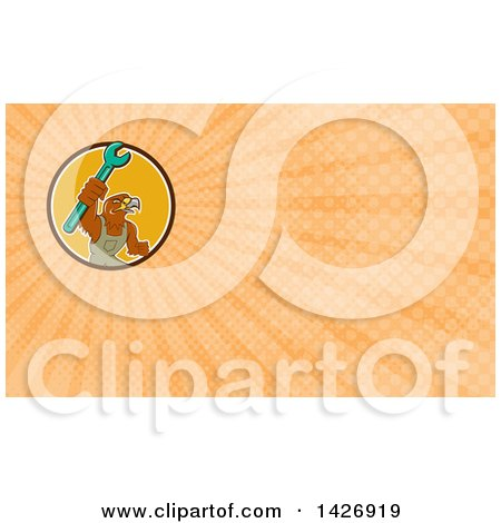 Clipart of a Retro Hawk Mechanic Man Wearing Overalls and Holding up a Spanner Wrench and Orange Rays Background or Business Card Design - Royalty Free Illustration by patrimonio