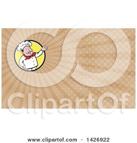 Clipart of a Retro Cartoon Male French Chef Presenting and Brown Rays Background or Business Card Design - Royalty Free Illustration by patrimonio