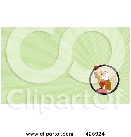 Clipart of a Cartoon Bald Eagle Man Boxer Pumping His Fist and Green Rays Background or Business Card Design - Royalty Free Illustration by patrimonio